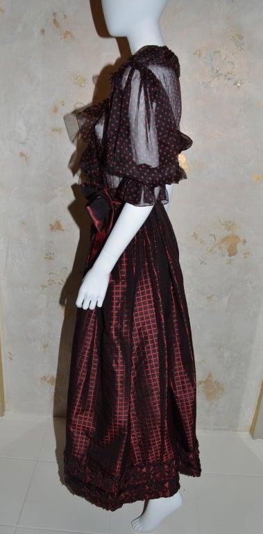 Black Yves Saint Laurent Rive Gauche Ball Skirt & Sheer Blouse 1970's For Sale