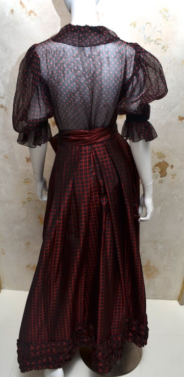 Yves Saint Laurent Rive Gauche Ball Skirt & Sheer Blouse 1970's In Excellent Condition For Sale In Carmel by the Sea, CA