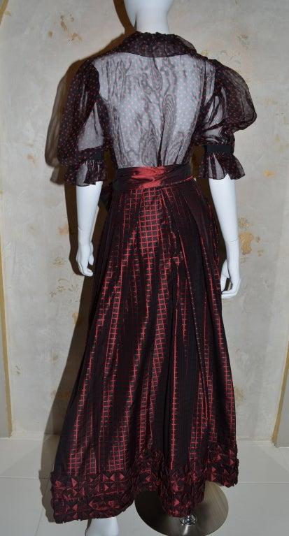 Women's Yves Saint Laurent Rive Gauche Ball Skirt & Sheer Blouse 1970's For Sale