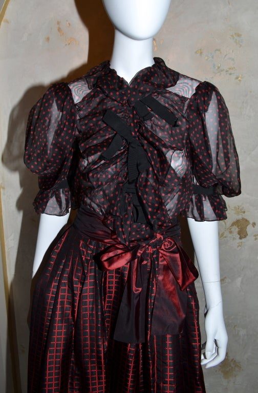 Yves Saint Laurent Rive Gauche Ball Skirt & Sheer Blouse 1970's For Sale 1