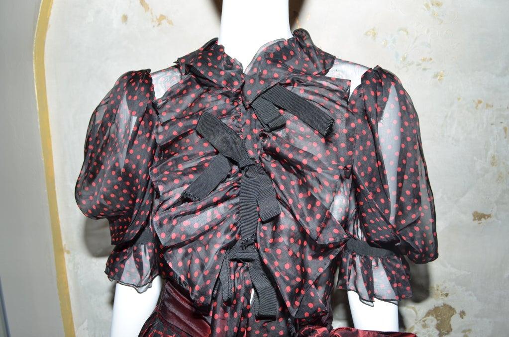 Yves Saint Laurent Rive Gauche Ball Skirt & Sheer Blouse 1970's For Sale 3