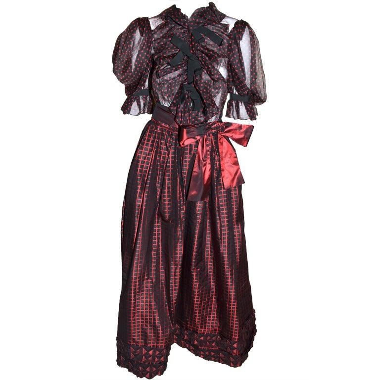 Yves Saint Laurent Rive Gauche Ball Skirt & Sheer Blouse 1970's