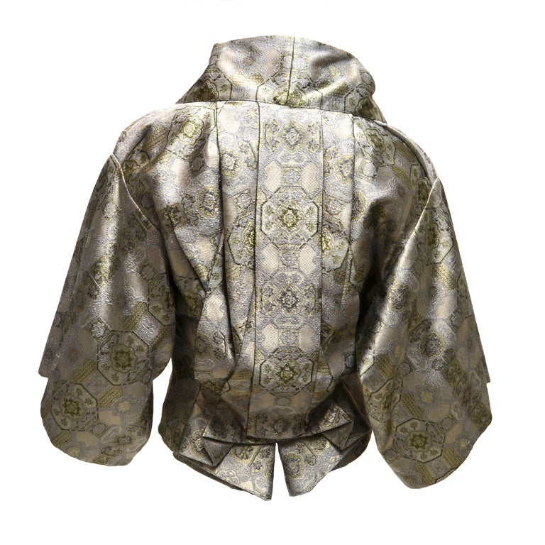 Alexander McQueen origami pleated brocade kimono jacket with silk satin bustier from 2003. Italian size 42. Intricately draped, structured but not stiff, detached satin corset, hook closure in front, asymetrical front, boned collar. Purchased in