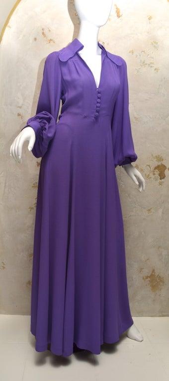 Ossie Clark Summer Vibrant Purple Moss Crepe Gown Vintage 1970's London For Sale 6