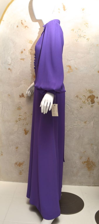 Original 1970's Vintage Ossie Clark lavender gown made from Moss crepe. Signature Ossie Clark 1930's cut and design. UK size 10, which is more like a US size 6/8.   Color is a warmer more lavender purple than pictures show.   Measurements: