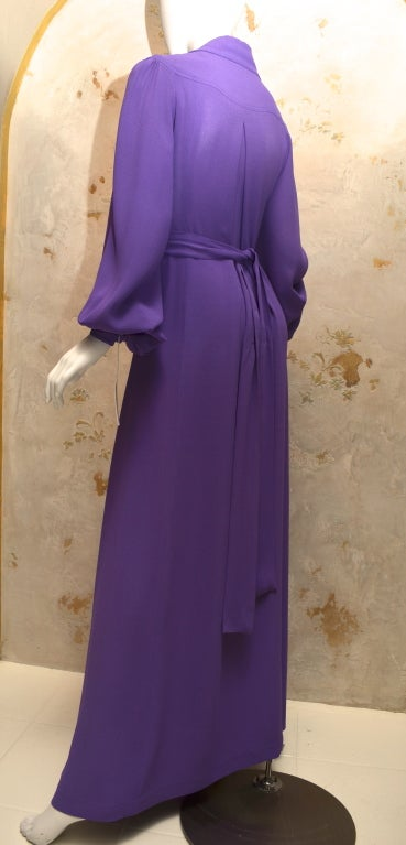 Ossie Clark Summer Vibrant Purple Moss Crepe Gown Vintage 1970's London In Excellent Condition For Sale In Carmel by the Sea, CA