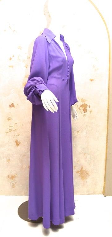 Women's Ossie Clark Summer Vibrant Purple Moss Crepe Gown Vintage 1970's London For Sale