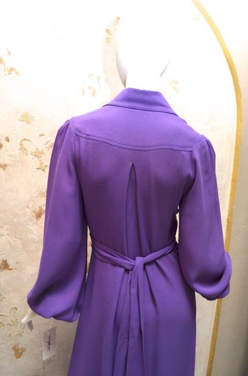 Ossie Clark Summer Vibrant Purple Moss Crepe Gown Vintage 1970's London For Sale 3