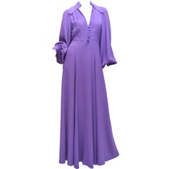 Ossie Clark Summer Vibrant Purple Moss Crepe Gown Vintage 1970's London