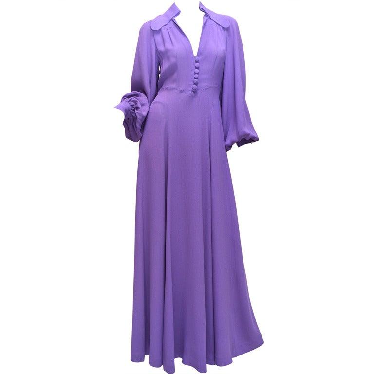 Ossie Clark Summer Vibrant Purple Moss Crepe Gown Vintage 1970's London For Sale