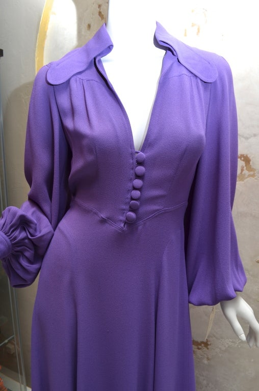 Ossie Clark Summer Vibrant Purple Moss Crepe Gown Vintage 1970's London For Sale 2