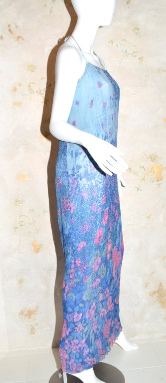 Purple Hanae Mori Pleated Chiffon Slip Dress from 1979 For Sale