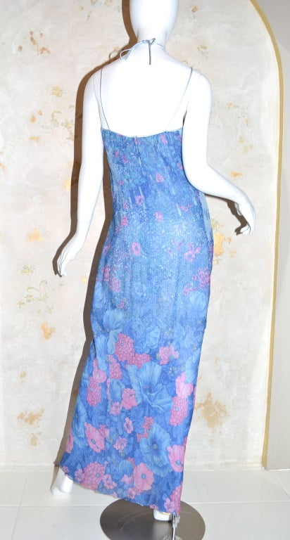 Hanae Mori Pleated Chiffon Slip Dress from 1979 In Excellent Condition For Sale In Carmel by the Sea, CA