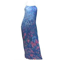 Hanae Mori Pleated Chiffon Slip Dress from 1979