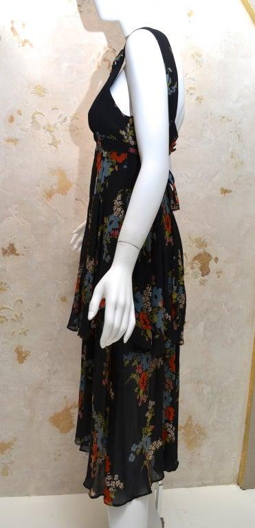 Ossie Clark for Radley 1970s Vintage Floral Print Crepe Dress 2