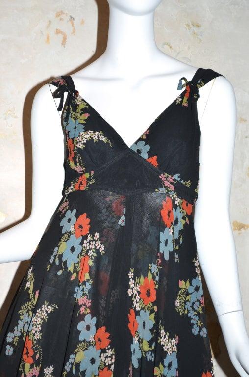 Ossie Clark for Radley 1970s Vintage Floral Print Crepe Dress 3