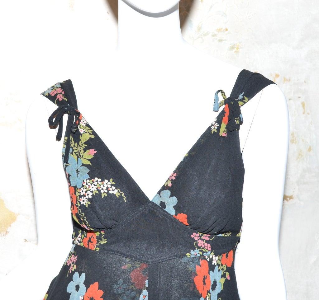 Ossie Clark for Radley 1970s Vintage Floral Print Crepe Dress 4