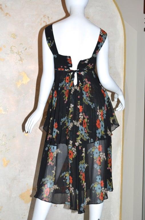 Ossie Clark for Radley 1970s Vintage Floral Print Crepe Dress 6