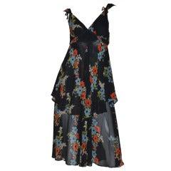 Ossie Clark for Radley 1970s Vintage Floral Print Crepe Dress