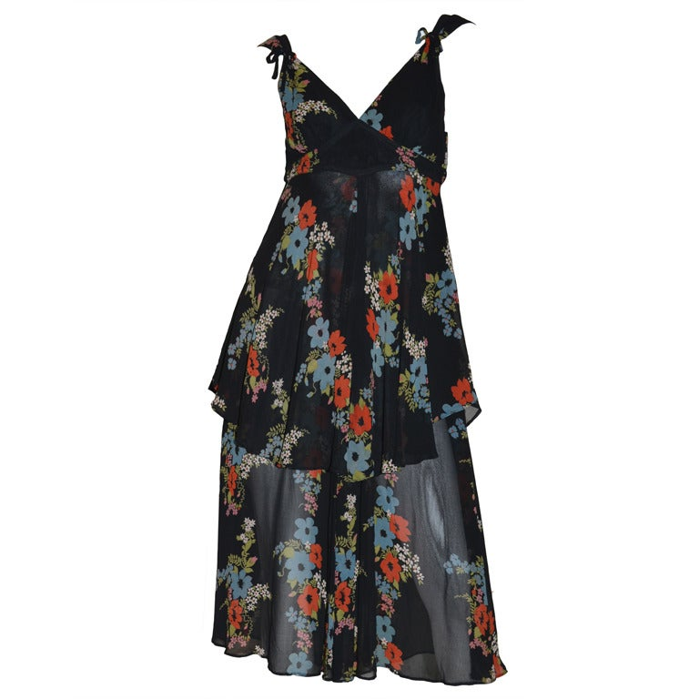 Ossie Clark for Radley 1970s Vintage Floral Print Crepe Dress