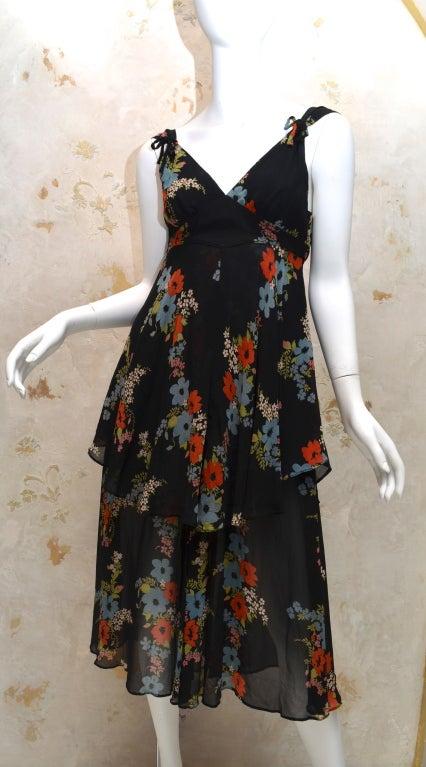 Ossie Clark for Radley 1970s Vintage Floral Print Crepe Dress 5