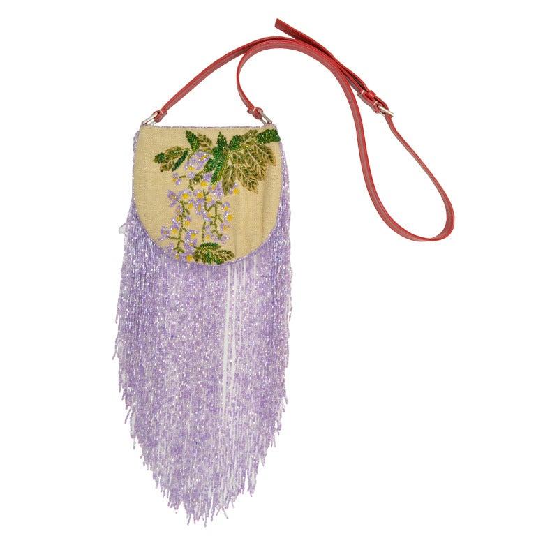 valentino beaded shoulder bag with long beaded fringe at 1stdibs