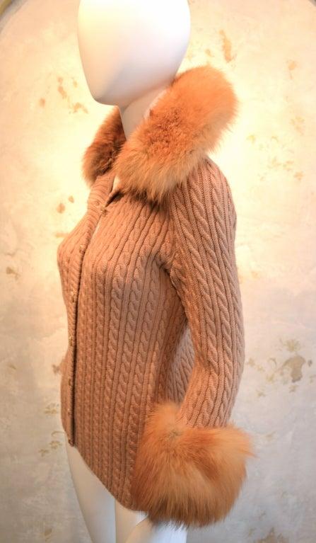 Yves Saint Laurent 1970's Cable Knit Cardigan w/Fox Fur Trim 2