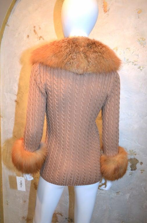 Yves Saint Laurent 1970's Cable Knit Cardigan w/Fox Fur Trim 3