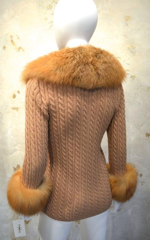 Yves Saint Laurent 1970's Cable Knit Cardigan w/Fox Fur Trim 4