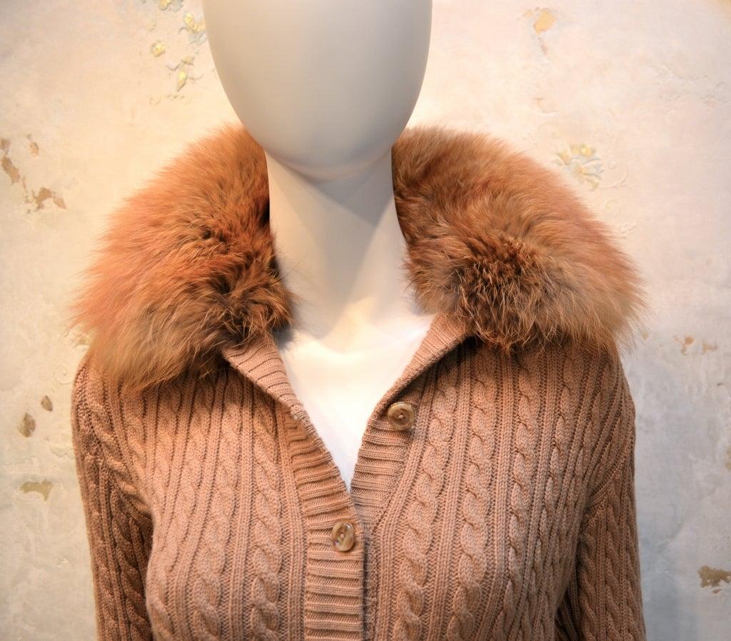 Yves Saint Laurent 1970's Cable Knit Cardigan w/Fox Fur Trim 5