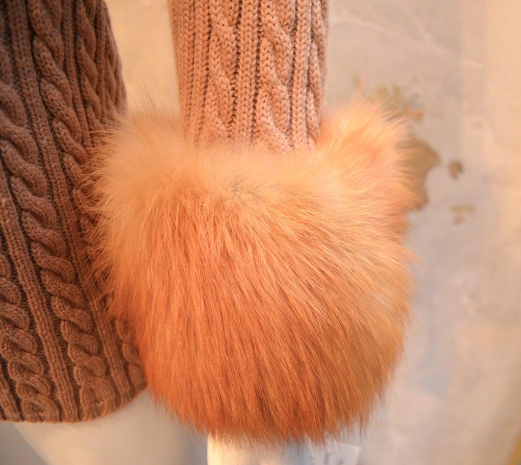 Yves Saint Laurent 1970's Cable Knit Cardigan w/Fox Fur Trim 6