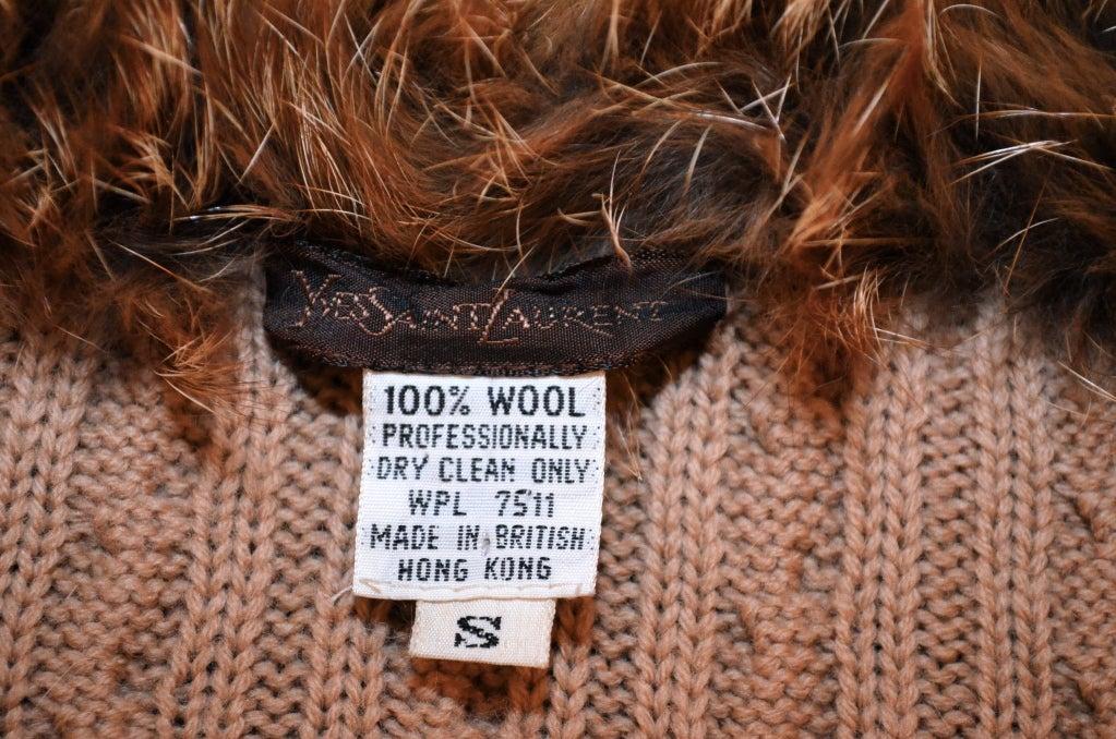 Yves Saint Laurent 1970's Cable Knit Cardigan w/Fox Fur Trim 8