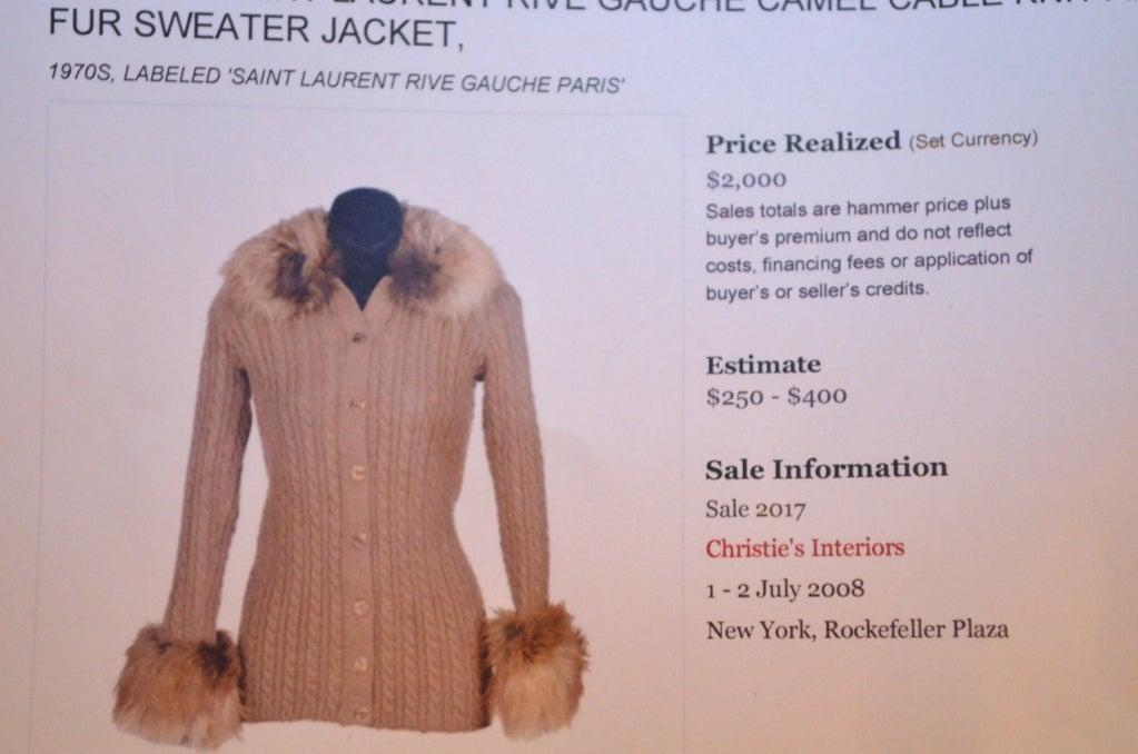 Yves Saint Laurent 1970's Cable Knit Cardigan w/Fox Fur Trim 9