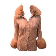 Yves Saint Laurent 1970's Cable Knit Cardigan w/Fox Fur Trim