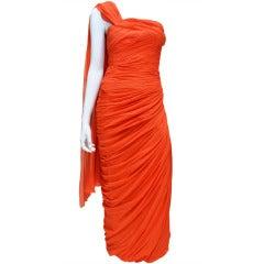 Zammaretti Roma Haute Couture Draped 1960s Summer Orange Vintage Chiffon Gown