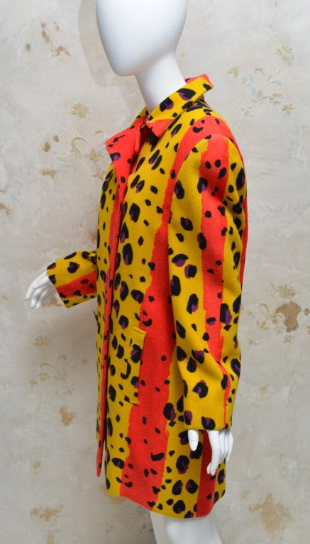 Vintage 1980's Stephen Sprouse neon animal print wool felt coat. Boxy fit, size large.