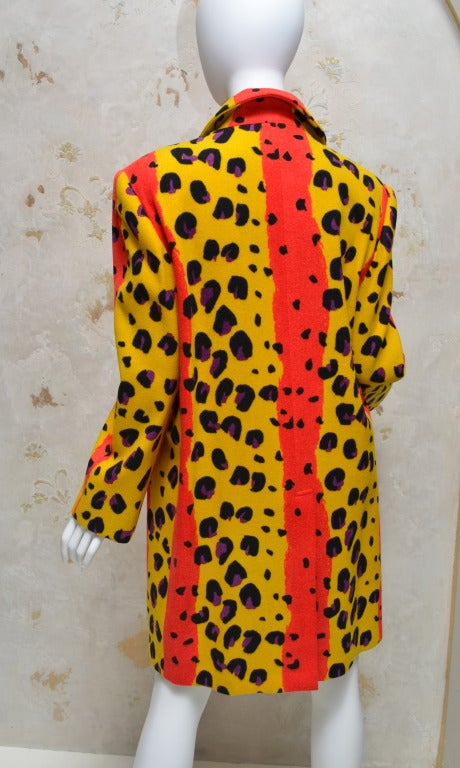 Vintage 1980's Stephen Sprouse Animal Print Wool Felt Coat In Excellent Condition In Carmel by the Sea, CA