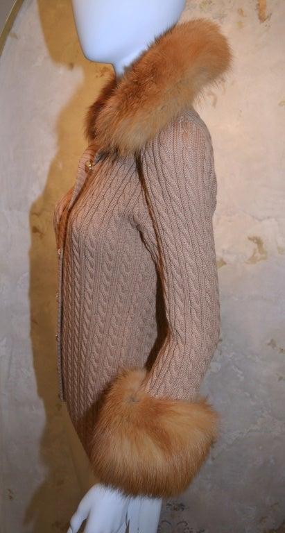 Yves Saint Laurent 1970's Cable Knit Cardigan w/Fox Fur Trim 7