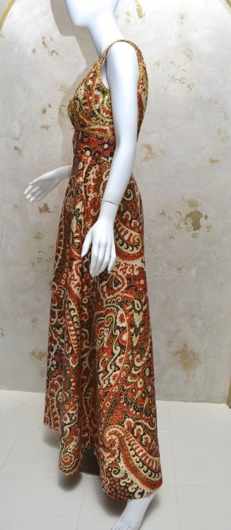 1970's Malcom Starr Jeweled Paisley Evening Dress 2