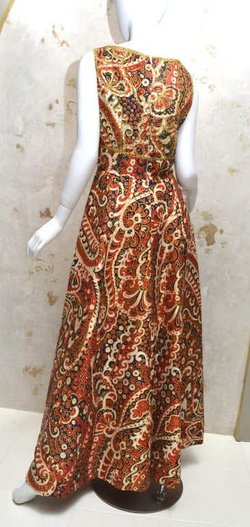 1970's Malcom Starr Jeweled Paisley Evening Dress 3