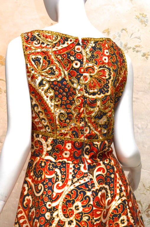 1970's Malcom Starr Jeweled Paisley Evening Dress 5