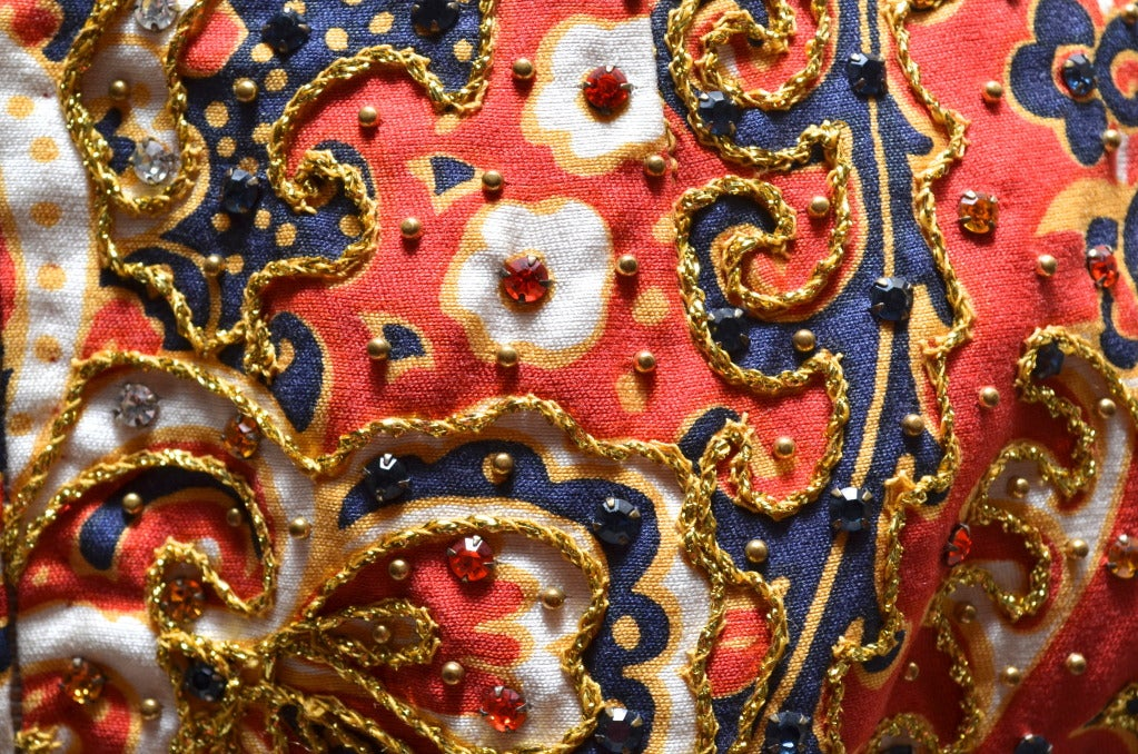 1970's Malcom Starr Jeweled Paisley Evening Dress 6