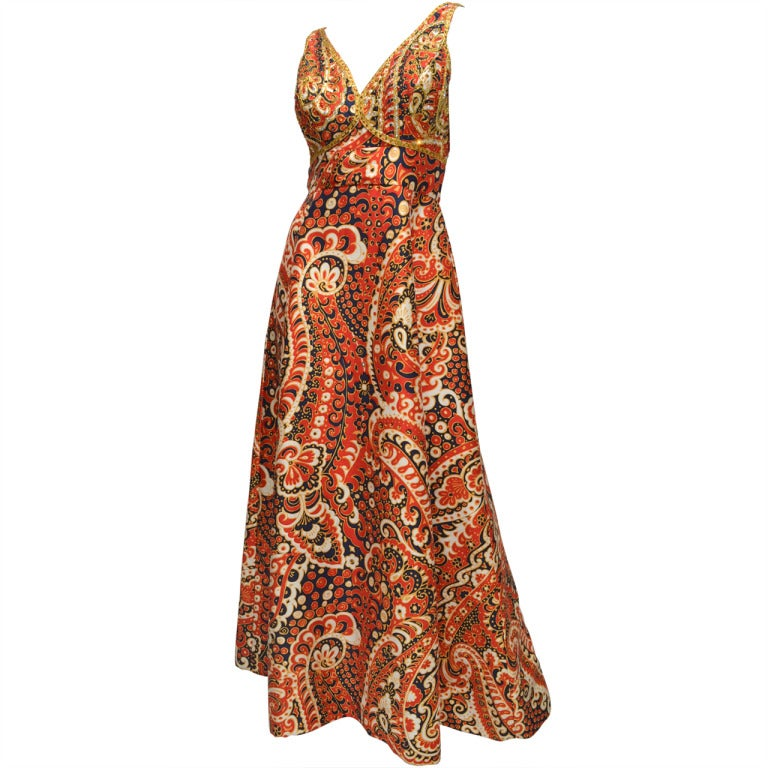 1970's Malcom Starr Jeweled Paisley Evening Dress 1