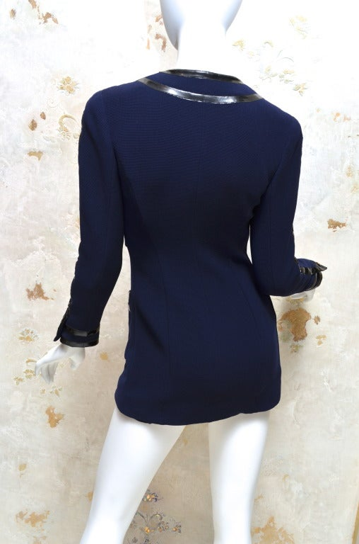 Chanel Black Vinyl Trimmed Navy Blue Jacket Sz36 Col 28 In Excellent Condition For Sale In Carmel by the Sea, CA