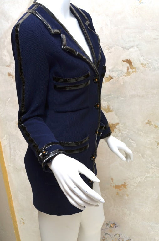 Chanel Black Vinyl Trimmed Navy Blue Jacket Sz36 Col 28 For Sale 1