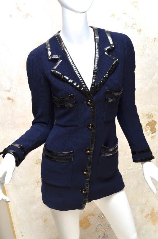 Chanel Black Vinyl Trimmed Navy Blue Jacket Sz36 Col 28 For Sale 3