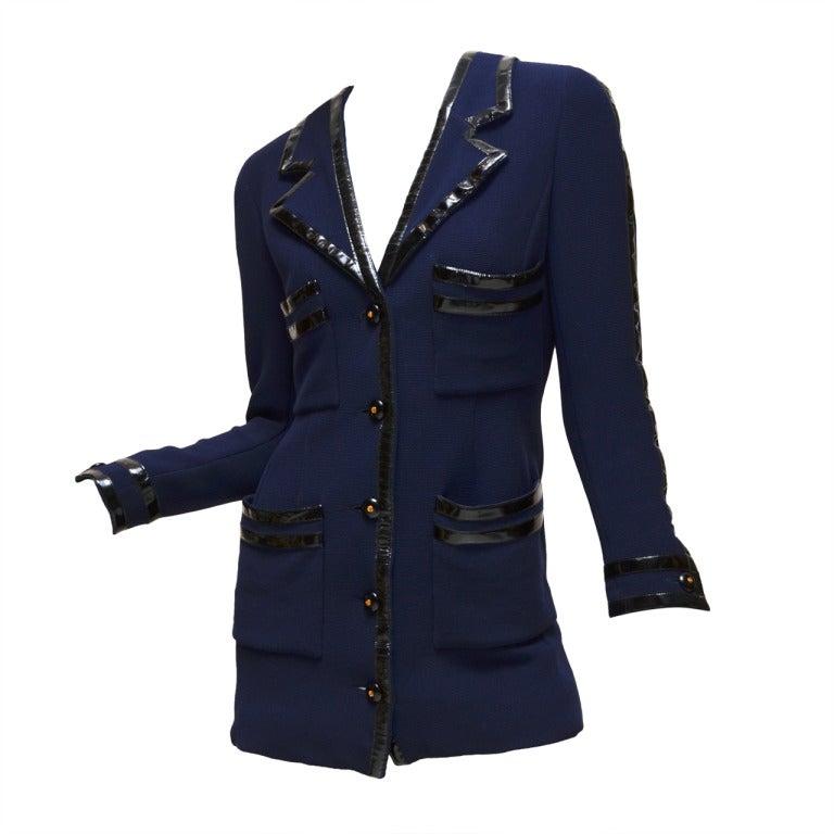 Chanel Black Vinyl Trimmed Navy Blue Jacket Sz36 Col 28 For Sale