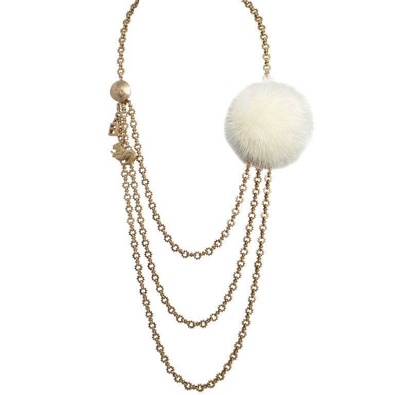 fendi multi strand necklace with charms and a mink