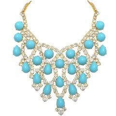 Schreiner New York 1960s Turquoise Bib Necklace