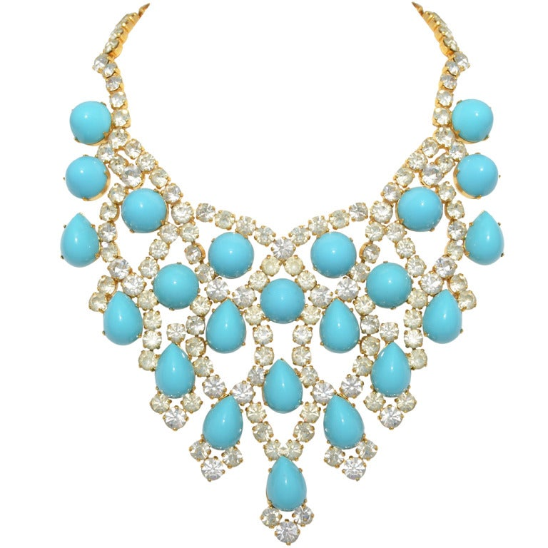 Schreiner New York 1960s Turquoise Bib Necklace at 1stdibs